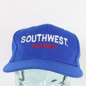 Vintage Southwest Airlines DTW Spell Out Hat Blue